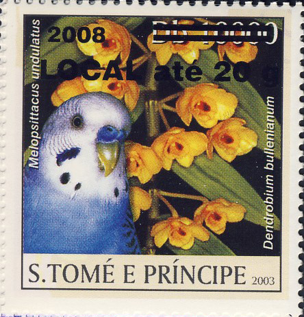 Parrot & yellow flower (2008) - black - LOCAL ate 20g - Issue of Sao Tome and Principe postage stamps