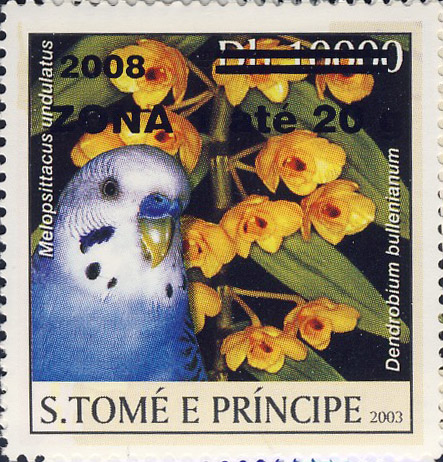 Parrot & yellow flower (2008) - black - ZONA 1 ate 20g - Issue of Sao Tome and Principe postage stamps