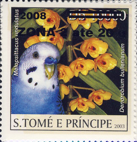 Parrot & yellow flower (2008) - black - ZONA 2 ate 20g - Issue of Sao Tome and Principe postage stamps
