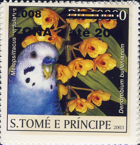 Parrot & yellow flower (2008) - black - ZONA 3 ate 20g - Issue of Sao Tome and Principe postage stamps