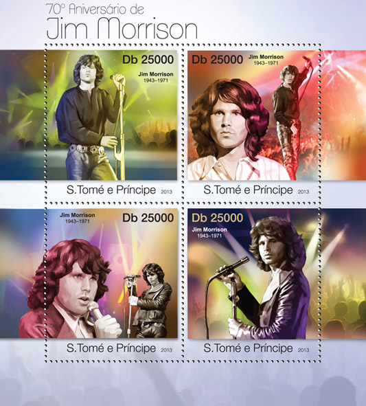 Jim Morrison - Issue of Sao Tome and Principe postage stamps