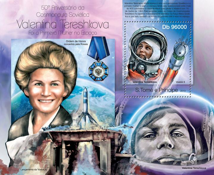 Valentina Tereshkova - Issue of Sao Tome and Principe postage stamps
