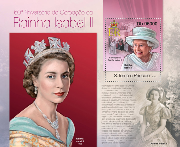 Queen Isabel II - Issue of Sao Tome and Principe postage stamps