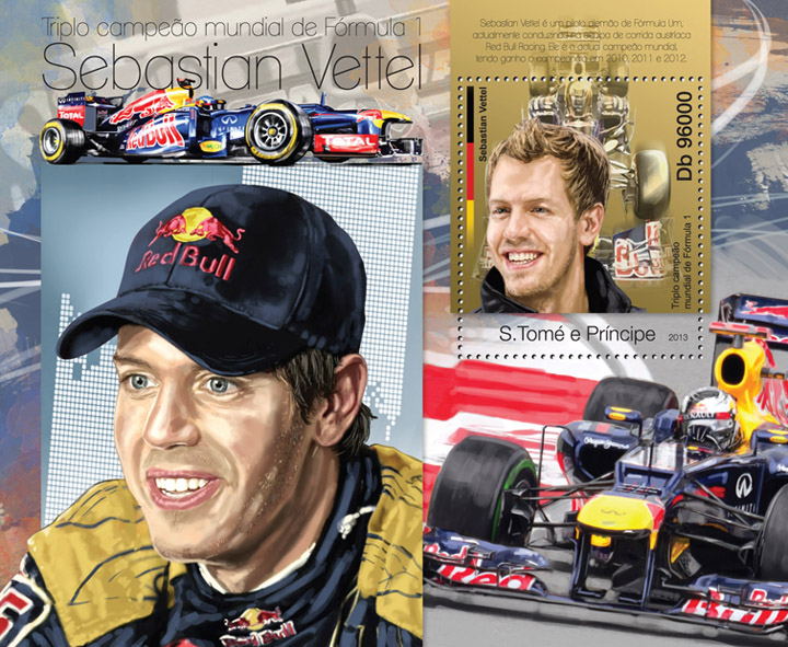 Sebastian Vettel - Issue of Sao Tome and Principe postage stamps