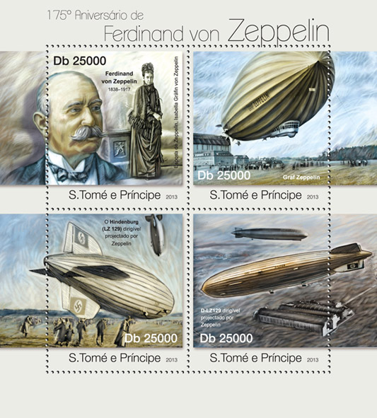 Ferdinand von Zeppelin - Issue of Sao Tome and Principe postage stamps