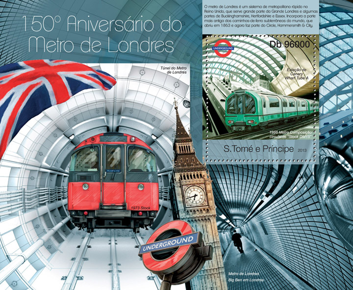 Metro of London - Issue of Sao Tome and Principe postage stamps