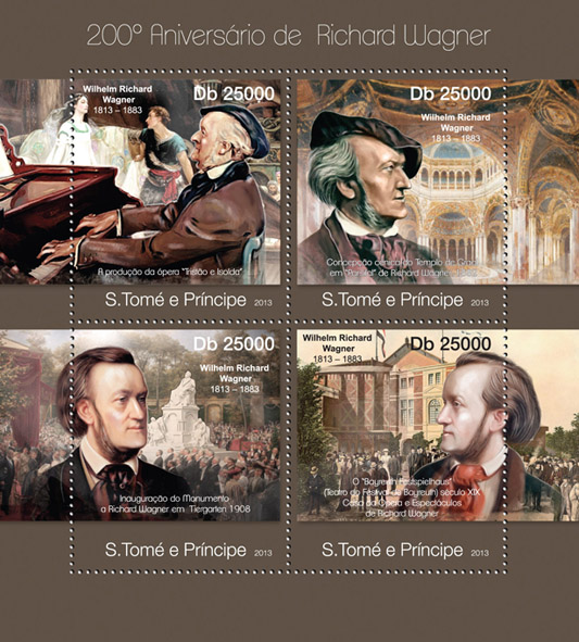 Richard Wagner - Issue of Sao Tome and Principe postage stamps
