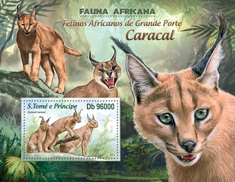 African big wild cats - Issue of Sao Tome and Principe postage stamps