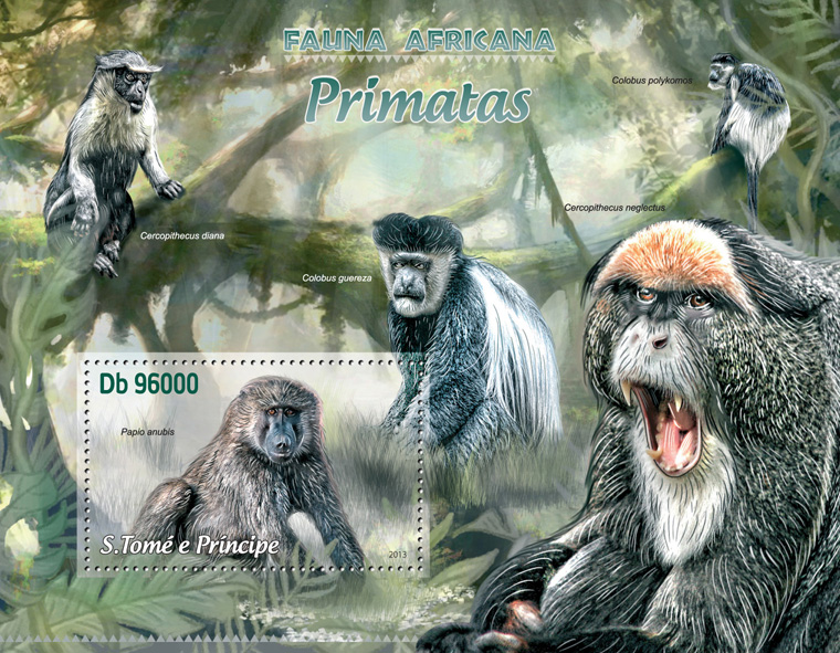 Primates - Issue of Sao Tome and Principe postage stamps