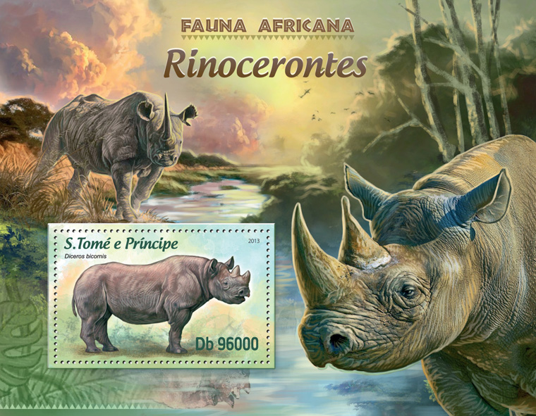 Rhinos - Issue of Sao Tome and Principe postage stamps
