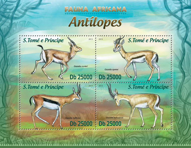 Antelopes - Issue of Sao Tome and Principe postage stamps