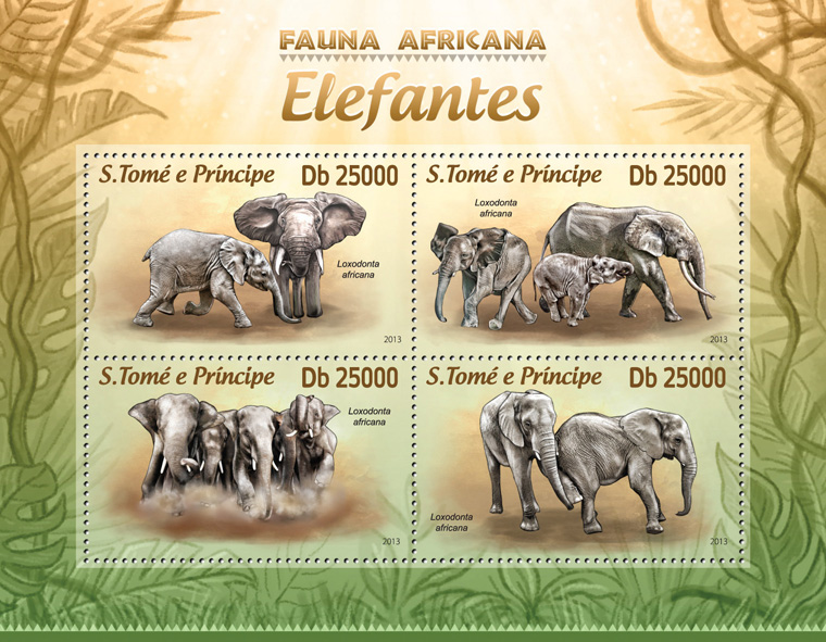 Elephants - Issue of Sao Tome and Principe postage stamps