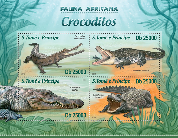 Crocodiles - Issue of Sao Tome and Principe postage stamps