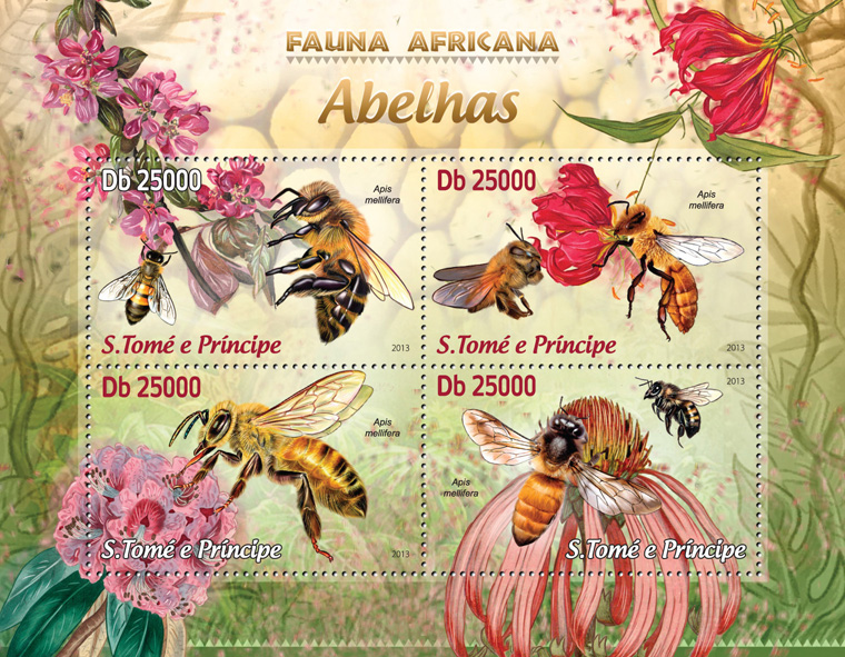 Bees - Issue of Sao Tome and Principe postage stamps