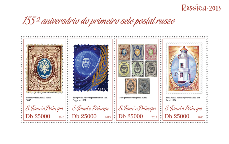 First Russian post stamp - Issue of Sao Tome and Principe postage stamps
