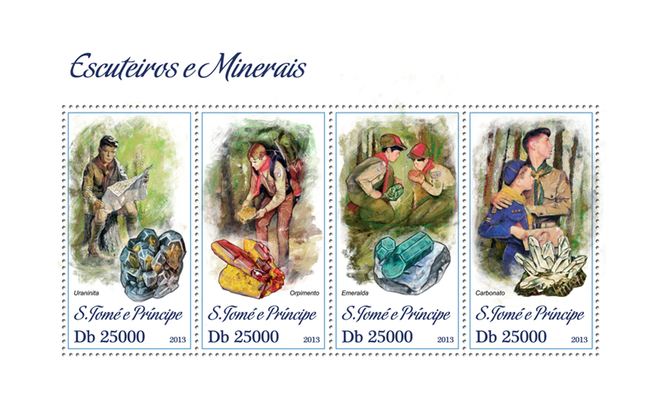 Scouts and Minerals - Issue of Sao Tome and Principe postage stamps
