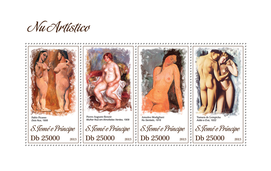 Nude art - Issue of Sao Tome and Principe postage stamps