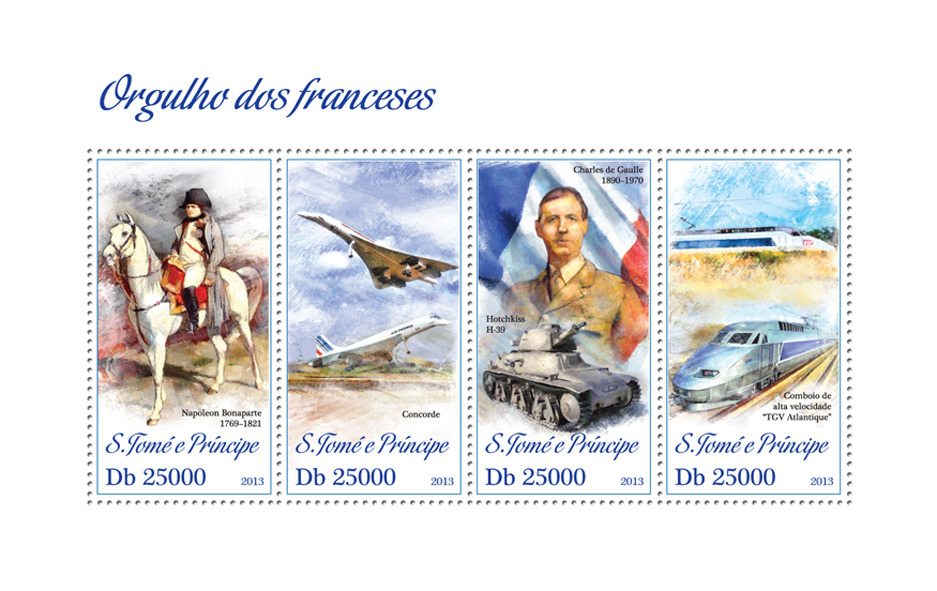 Pride of France - Issue of Sao Tome and Principe postage stamps