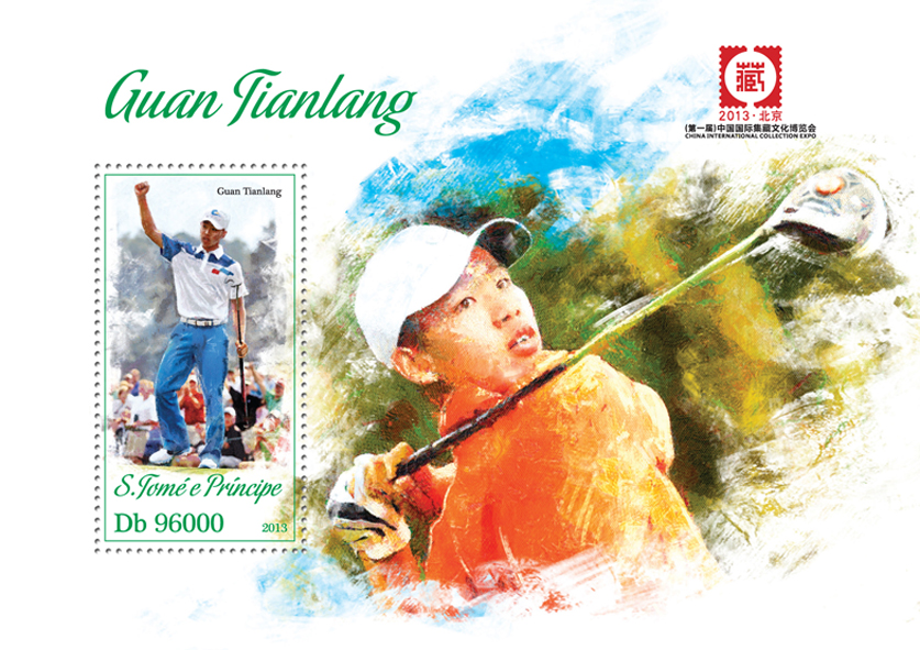 Guan Tianlang - Issue of Sao Tome and Principe postage stamps