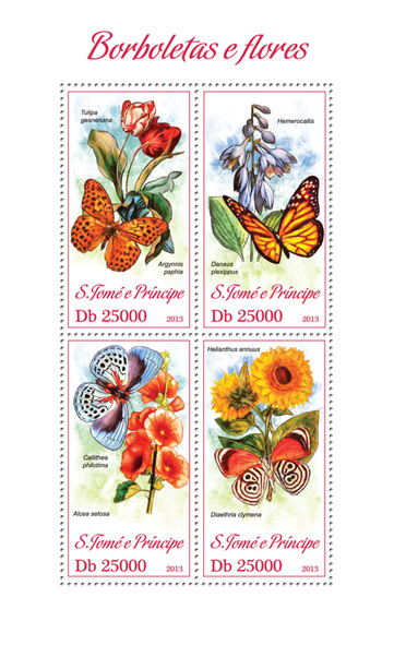 Butterflies and flowers - Issue of Sao Tome and Principe postage stamps