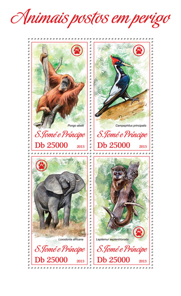 Endangered animals - Issue of Sao Tome and Principe postage stamps