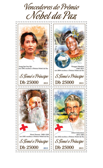 Nobel Peace Prize - Issue of Sao Tome and Principe postage stamps