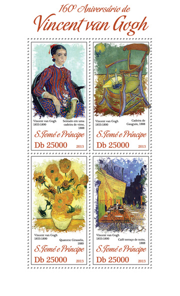 Vincent Van Gogh - Issue of Sao Tome and Principe postage stamps