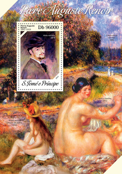 Pierre Auguste Renoir - Issue of Sao Tome and Principe postage stamps