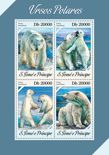 Polar bears - Issue of Sao Tome and Principe postage stamps