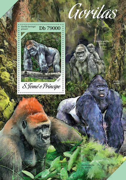 Gorillas - Issue of Sao Tome and Principe postage stamps