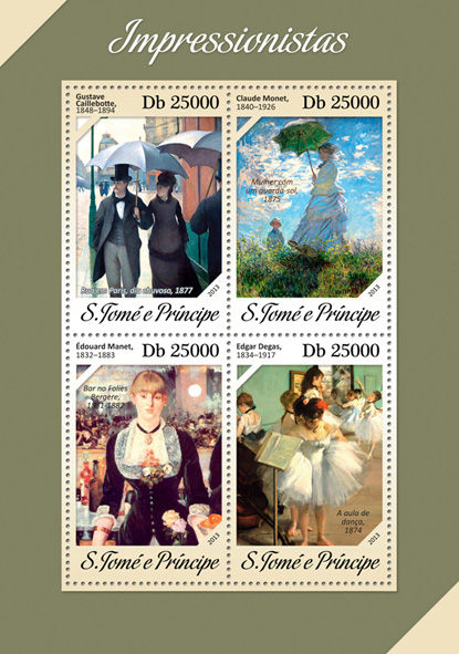Impressionists - Issue of Sao Tome and Principe postage stamps