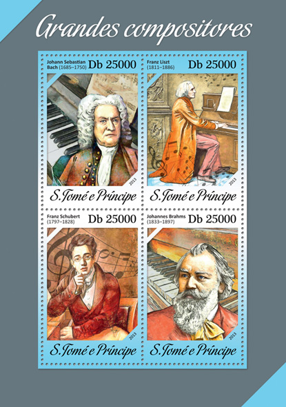 Great composers - Issue of Sao Tome and Principe postage stamps
