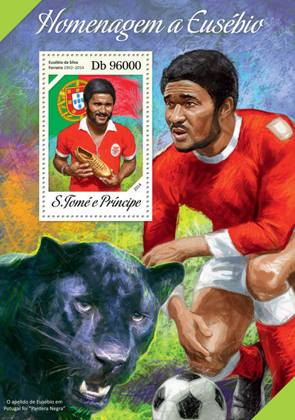 Eusebio - Issue of Sao Tome and Principe postage stamps