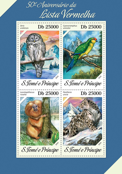 Red List - Issue of Sao Tome and Principe postage stamps