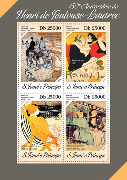 Henri de Toulouse-Lautrec - Issue of Sao Tome and Principe postage stamps
