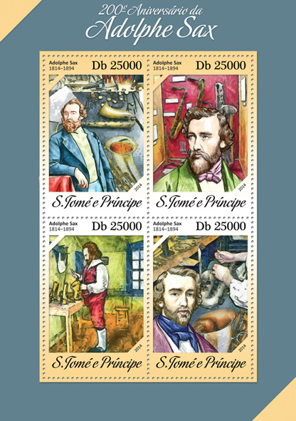 Adolphe Sax - Issue of Sao Tome and Principe postage stamps