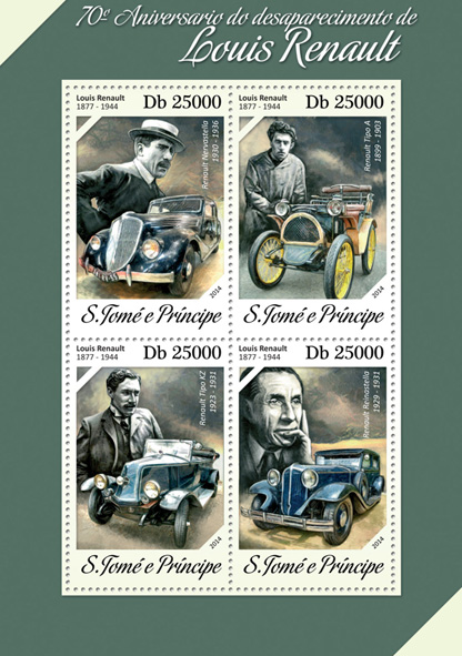 Louis Renault - Issue of Sao Tome and Principe postage stamps
