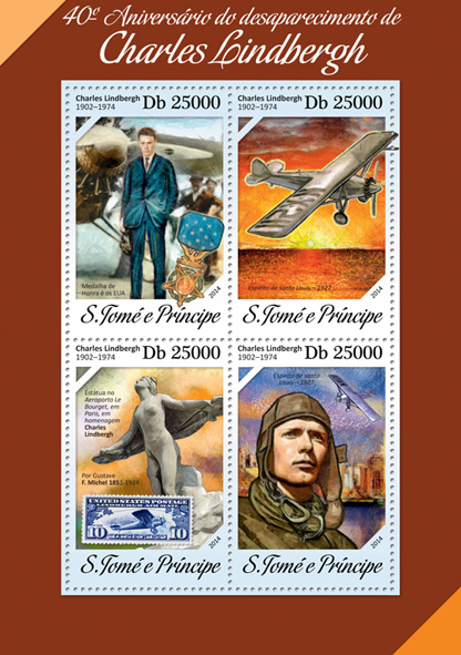 Charles Lindbergh - Issue of Sao Tome and Principe postage stamps