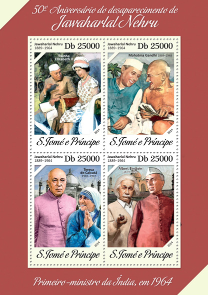Jawaharlal Nehru  - Issue of Sao Tome and Principe postage stamps