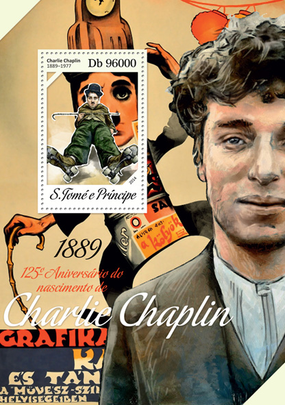 Charlie Chaplin - Issue of Sao Tome and Principe postage stamps