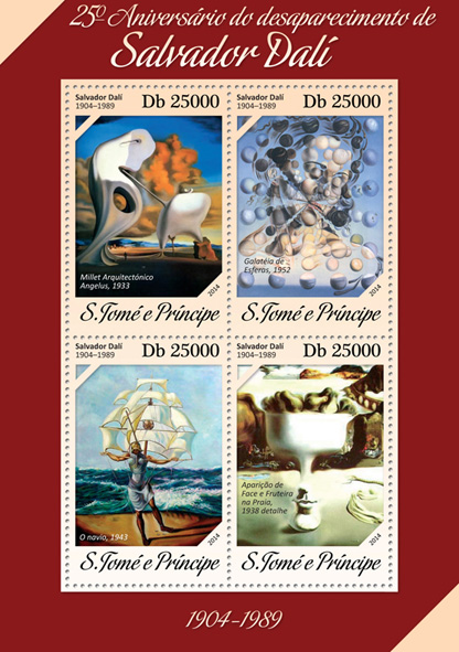 Salvador Dali  - Issue of Sao Tome and Principe postage stamps