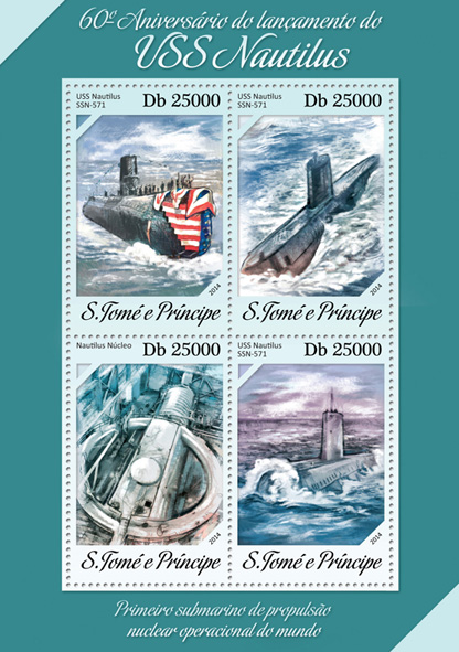 USS Nautilus - Issue of Sao Tome and Principe postage stamps