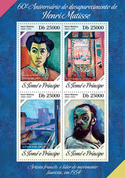 Henri Matisse - Issue of Sao Tome and Principe postage stamps