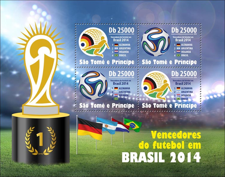 Winners of 2014 Brazil  - Issue of Sao Tome and Principe postage stamps