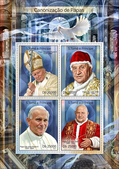 Popes - Issue of Sao Tome and Principe postage stamps