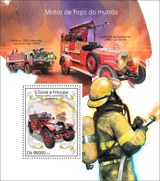 Fire engines  - Issue of Sao Tome and Principe postage stamps