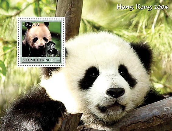 Panda & scouts s/s - Issue of Sao Tome and Principe postage stamps