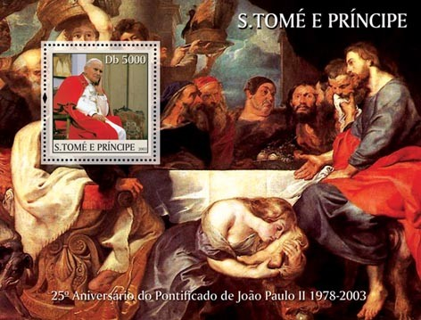 John Paul II s/s - 5000 Db - Issue of Sao Tome and Principe postage stamps
