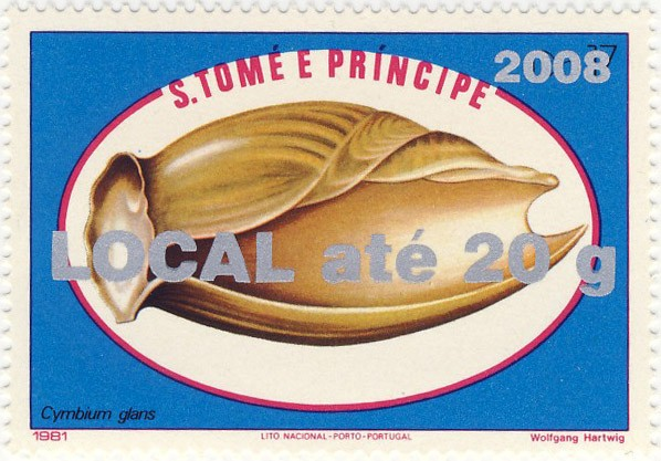 Cymbium Glans - Issue of Sao Tome and Principe postage stamps