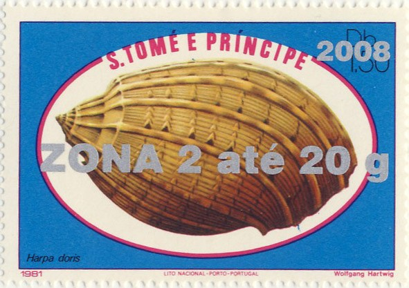 Harpa doris - Issue of Sao Tome and Principe postage stamps